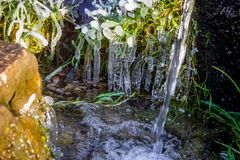Beautiful icy spring in sunny day. Outdoor royalty free stock photography