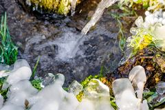 Beautiful icy spring in sunny day. Outdoor royalty free stock images