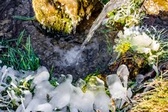 Beautiful icy spring in sunny day. Outdoor stock image