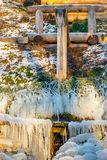 Beautiful icy springs in the cold season stock photography