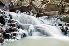 A beautiful icy waterfall. At Domor-kapu, Hungary Royalty Free Stock Images