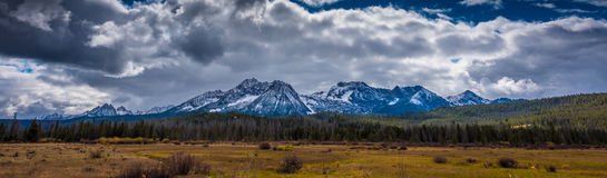 Beautiful Idaho Landscape Sawtooth Range. Panoramic Shot of a Sawtooth Mountain Range taken near Stanley Idaho USA royalty free stock photo