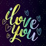 Neon inscription is a declaration of love, I love you Royalty Free Stock Photo