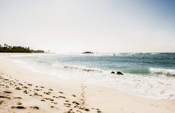 A Beautiful & Idyllic Beach Scene in Punta de Mita, Nayarit, Mex. A Beautiful & Idyllic Beach Scene with Footprints in the sand in Punta de Mita, Nayarit, Mexico stock image