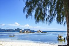 Beautiful idyllic mood in the harbor of la passe, la digue, seyc Royalty Free Stock Images