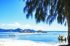 Beautiful idyllic mood in the harbor of la passe, la digue, seyc Stock Images