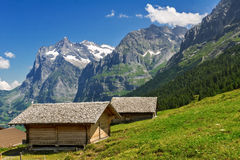 Beautiful idyllic mountains landscape with country house (chalet) in summer Royalty Free Stock Photo