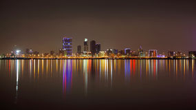 Beautiful illuminated Bahrain skyline and reflection Stock Photo