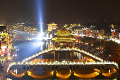 Beautiful illuminated bridge at fenghuang ancient  Royalty Free Stock Images