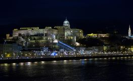 Night view famous Buda Castle Royal Palace building. Beautiful illuminated famous Buda Castle Royal Palace building royalty free stock photos