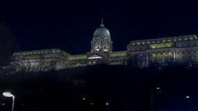 Beautiful illuminated famous Buda Castle Royal Palace building. Budapest. Hungary royalty free stock photos