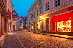Evening street in the Old Town, Tallinn, Estonia Stock Photography