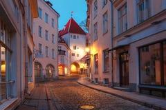 Evening street in the Old Town, Tallinn, Estonia Royalty Free Stock Photos