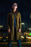 beautiful illuminated night petersburs russia st standing street woman young Στοκ φωτογραφία με δικαίωμα ελεύθερης χρήσης