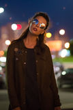 beautiful illuminated night petersburs russia st standing street woman young Στοκ Εικόνες