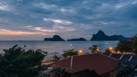 Beautiful illuminated shining in twilight at Prachuap port Stock Photography