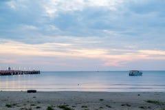 Beautiful illuminated shining in twilight at Prachuap port Royalty Free Stock Photos