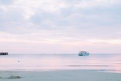 Beautiful illuminated shining in twilight at Prachuap port Stock Images