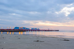 Beautiful illuminated shining in twilight at Prachuap port Royalty Free Stock Images
