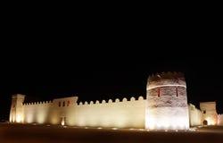 Beautiful illuminated western portion of Riffa fort, Bahrain Royalty Free Stock Photo