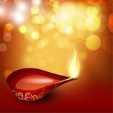 Beautiful illuminating Diya background. For Hindu community festival Diwali or Deepawali in India. EPS 10 Royalty Free Stock Photos
