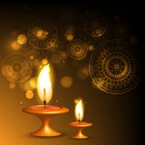 Beautiful illuminating oil lamp diwali background Royalty Free Stock Photos