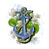Beautiful illustration with an anchor and flowers vector illustration