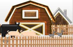Beautiful Illustration of A barnyard with animal stock illustration