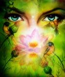 Beautiful illustration, blue goodness women eyes green background Royalty Free Stock Image