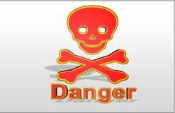 "Colorful Illustration of ""danger sign"" with golden line. stock illustration"