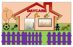 Beautiful Illustration of a Daycare stock illustration