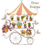 Beautiful illustration with flower shop or boutique fully of flo Stock Images