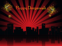 Beautiful illustration for happy deepavali. Abstract maroon rays, fireworks background with urban city Vector Illustration