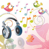 Beautiful illustration with headphones. And cartoon birds Royalty Free Stock Images