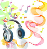 Beautiful illustration with headphones Stock Photos