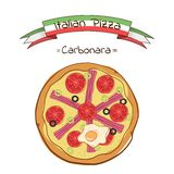 Beautiful illustration of Italian pizza Carbonara. Italian pizza with bacon, tomato, olives and egg Stock Photo