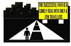 The Successful path is a lonely road with only a few travellers vector illustration