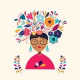 Beautiful illustration with Mexican woman. Design for Mexican holidays Dia De Los Metros and Cinco de Mayo