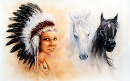 Beautiful  illustration painting of a young indian woman and horses Royalty Free Stock Photos