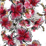 Beautiful illustration pattern with hand drawn tropical palm lea. Fs and hibiscus flowers for design Stock Images
