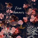 Beautiful illustration with pink flowers. Summer love. Floral beautiful illustration with pink flowers. Summer love Royalty Free Stock Photos