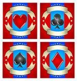 A beautiful illustration of playing cards for casinos, slot mach Royalty Free Stock Image