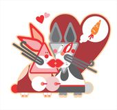 Beautiful illustration of rabbits Stock Images