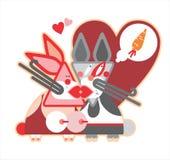 Beautiful illustration of rabbits Stock Images