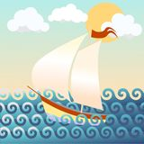 Vector illustration of a ship, seascape. Beautiful  illustration of a ship, seascape Royalty Free Stock Photo