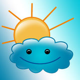 Beautiful illustration-sun and smiled cute cloud Stock Photo