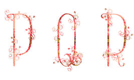 Beautiful illustration of the uppercase letters P Q R made of spring flowers Royalty Free Stock Photography