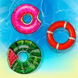Beautiful illustration of water surface with sun reflections. Totally vector colorful image. Bright inflatable yellow. And red rubber rings. Ideal swimming pool Stock Image