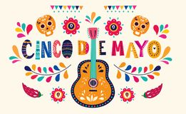 Free Beautiful Illustration With Design For Mexican Holiday 5 May Cinco De Mayo. Stock Images - 112272114