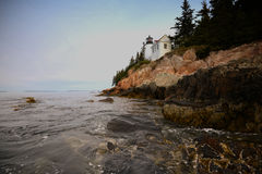 Beautiful image of the bass harbor lighthouse in maine and Acadi Stock Photo
